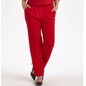 St John Red Santana Knit Pleat Front Pants Trouser